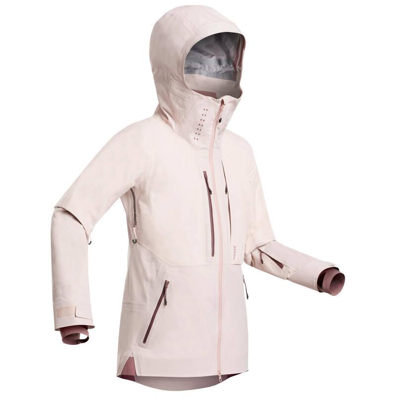 DÁMSKÉ LYŽAŘSKÉ OBLEČENÍ NA FREERIDE Snowboarding - LYŽAŘSKÁ BUNDA FR900 RŮŽOVÁ  WEDZE - Snowboardové oblečení a doplňky