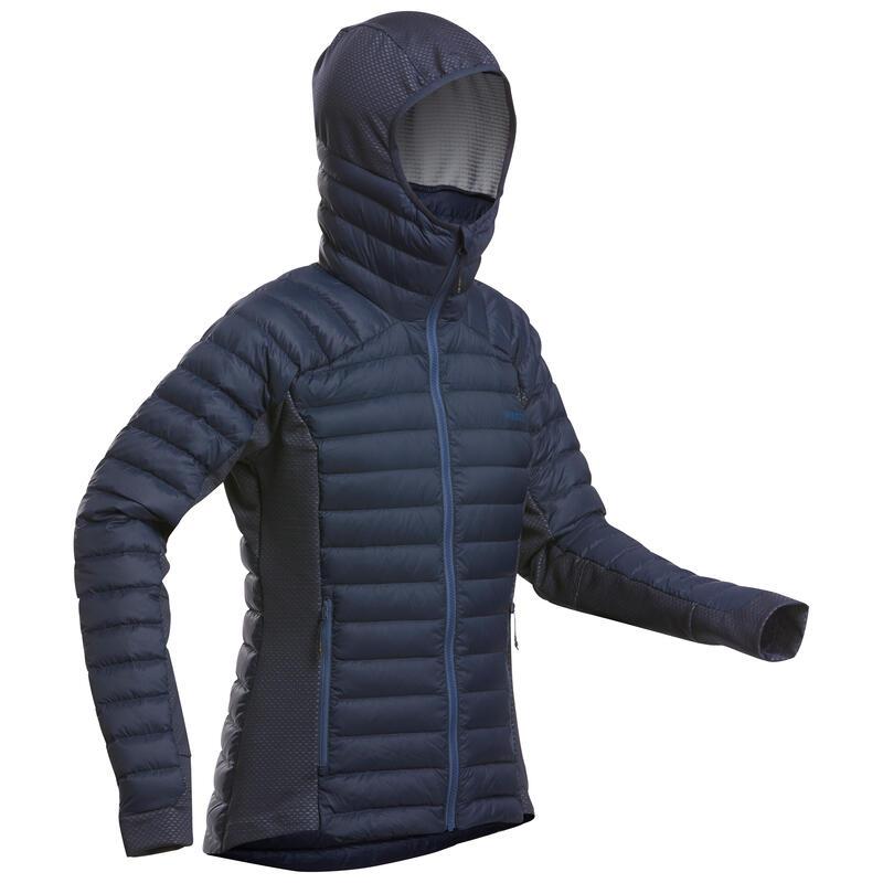 Ski-jas voor dames freeride 2de laag met donsvulling FR900 Warm blauw