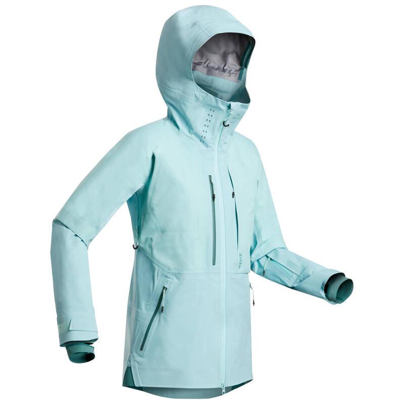 DÁMSKÉ LYŽAŘSKÉ OBLEČENÍ NA FREERIDE Snowboarding - LYŽAŘSKÁ BUNDA FR900 ZELENÁ  WEDZE - Snowboardové oblečení a doplňky