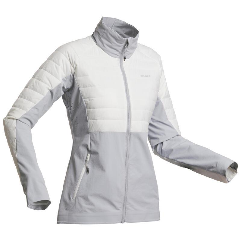 Giacca sci freeride donna FR900 LIGHT bianca e grigia