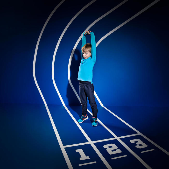 Warm atletiekshirt met lange mouwen en halve rits voor kinderen AT 100 blauw