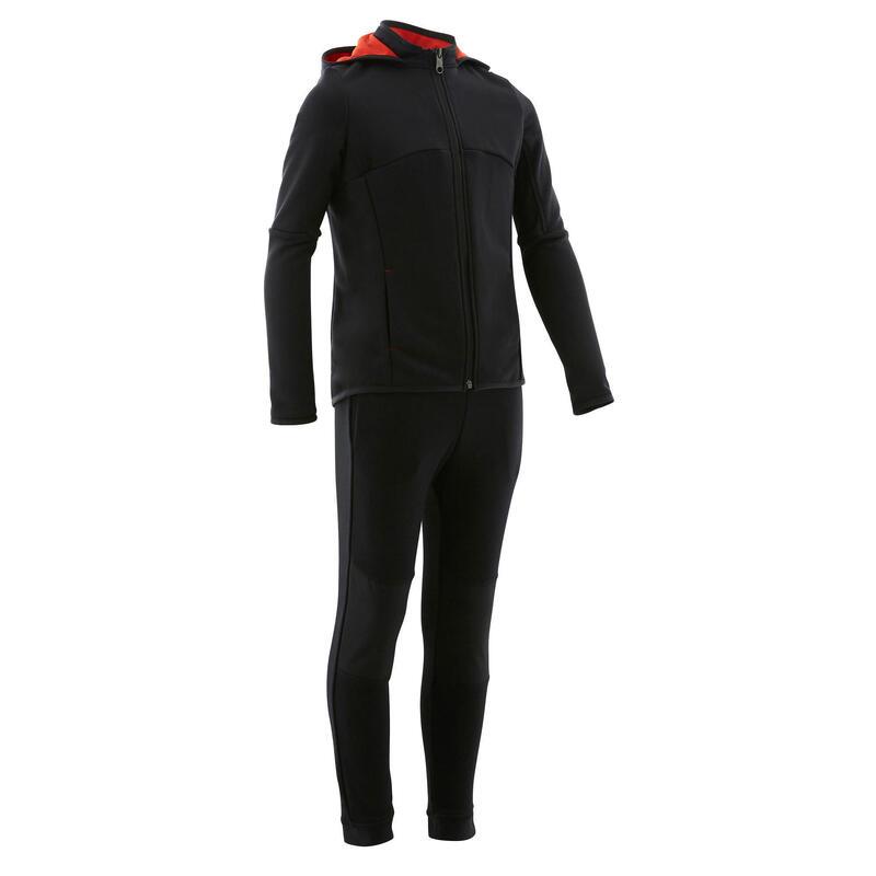 Warm en ademend trainingspak voor gym jongens S500 synthetisch zwart/rode kap
