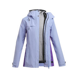Women's 3-in-1 Waterproof Comfort 0°C Travel Trekking Jacket - TRAVEL 100 purple
