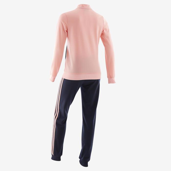 Trainingspak voor meisjes roze en zwart met logo op de borst