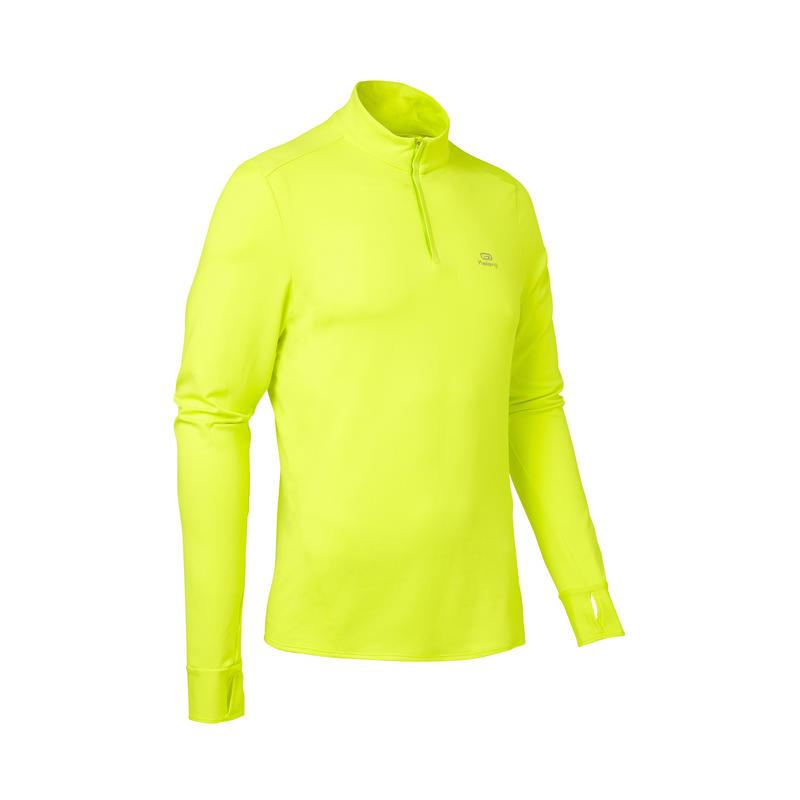 Men's Long-Sleeved Running T-Shirt Run Warm - neon acid yellow