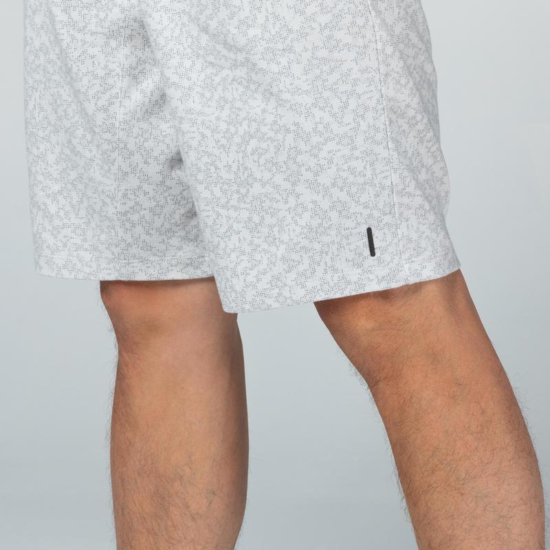 กางเกงขาสั้นผ้าฝ้ายเนื้อยืดหยุ่นทรงเข้ารูปยาวเหนือเข่ามีกระเป๋าซิปสำหรับใส่ออกกำลังกาย (ลวดลายสีเทา)