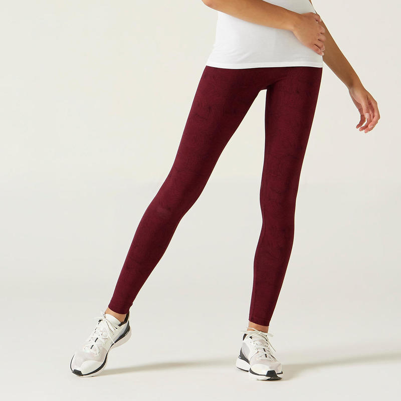 Legging voor fitness Fit+ katoen bordeaux met print