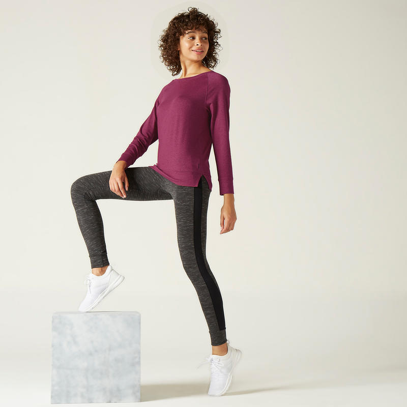 T-Shirt Manches Longues Coton Extensible Fitness Violet