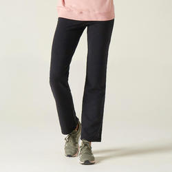 Pantalon jogging Fitness avec lien bas de jambe coupe droite Noir