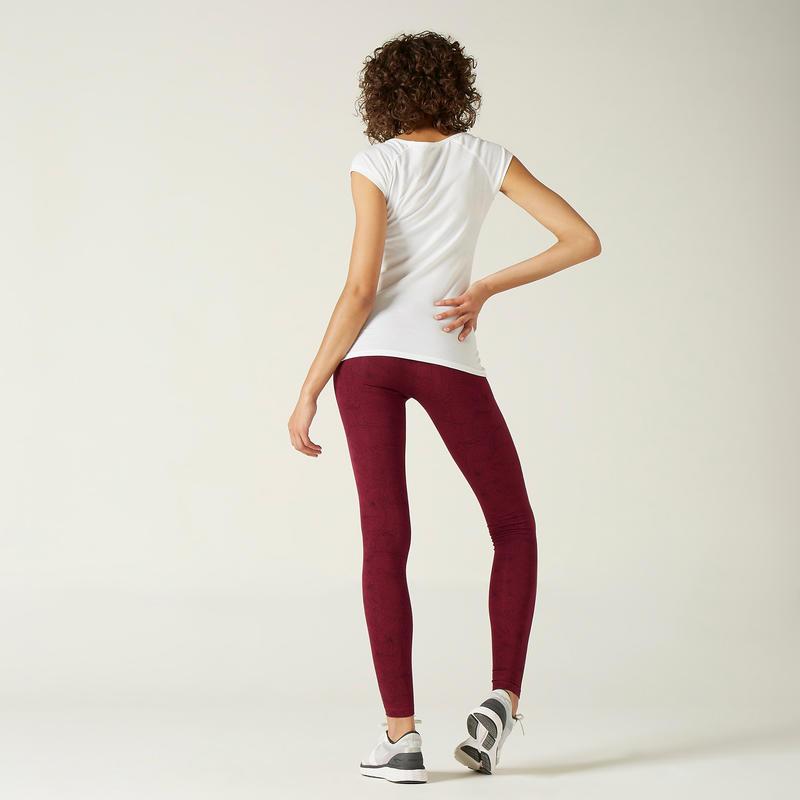 Legging Fit+ 500 Femme Bordeaux avec Motif