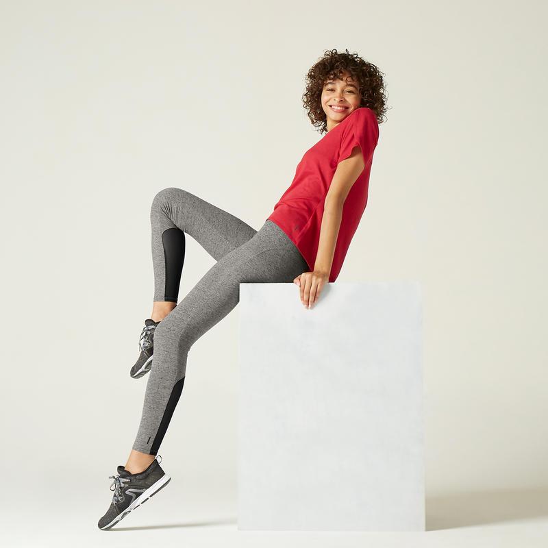 Legging de Sport 520 Femme Gris avec Motif