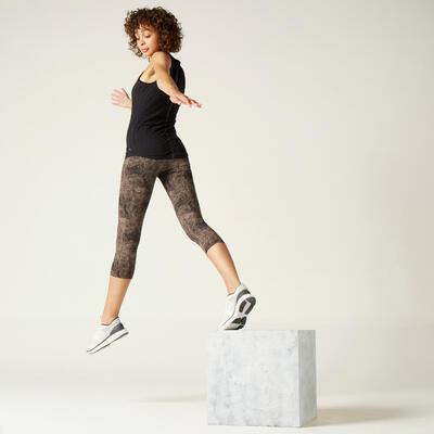 Leggings 7/8 algodón Fitness cortos y moldeadores gris con estampado