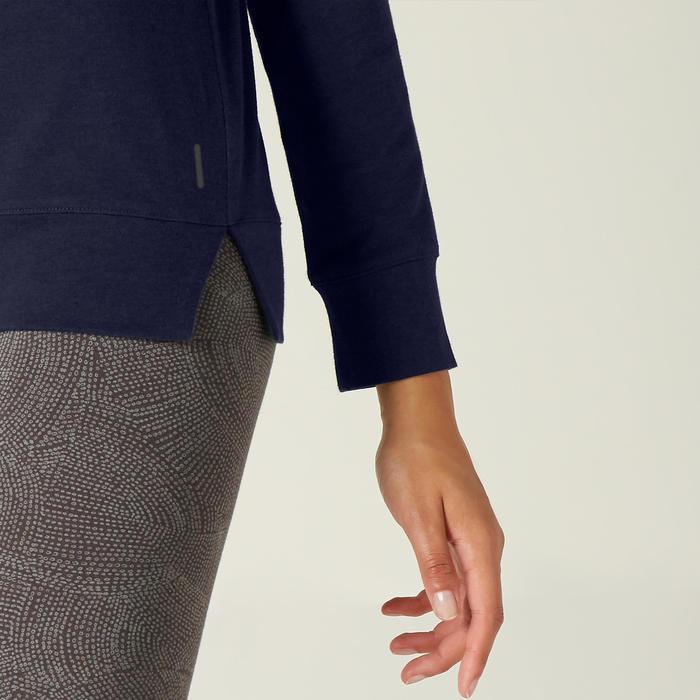 Shirt met lange mouwen voor dames 500 marineblauw met print