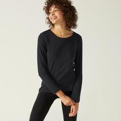 Gym T-shirt met lange mouwen voor dames 100 zwart