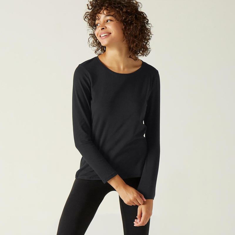 Shirt voor fitness lange mouwen katoen zwart