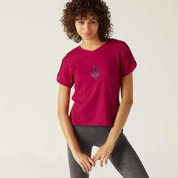 T-Shirt Coton Extensible Fitness Couvrant Rose avec Motif