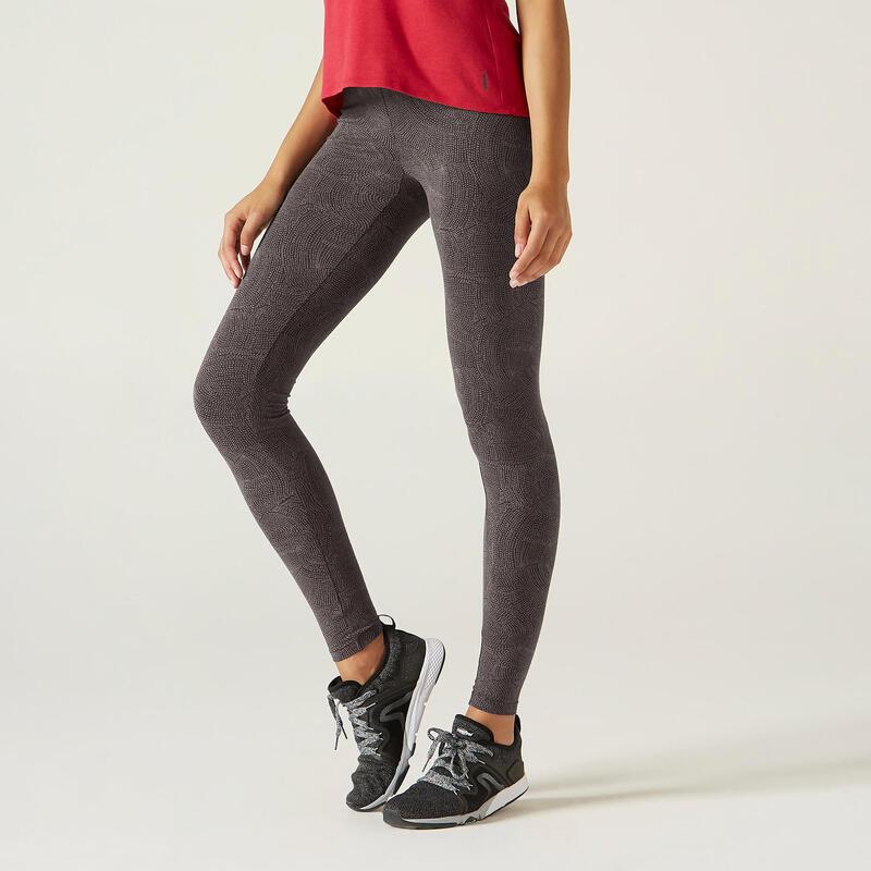 Leggings cotone donna FIT+ 500 slim grigi stampati