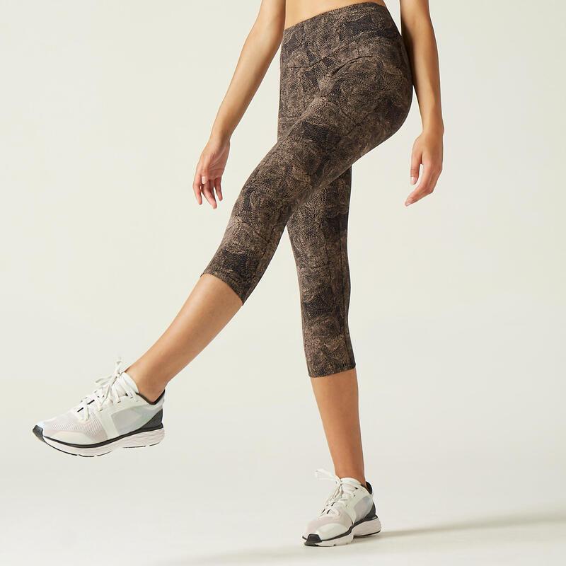 Legging 7/8 Coton Fitness court et Galbant Gris avec Imprimé