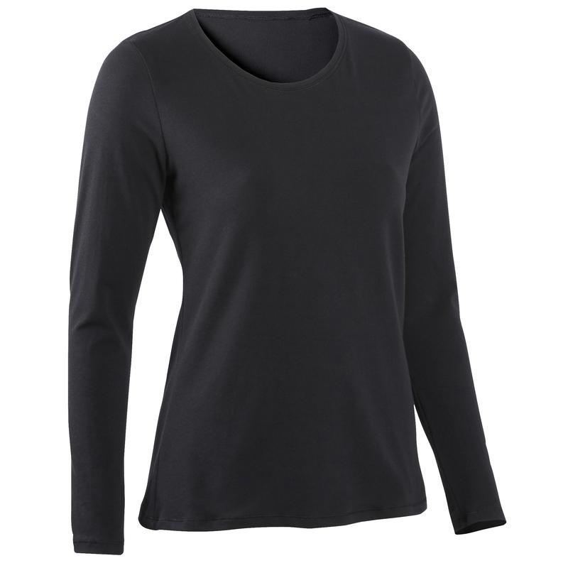 Long-Sleeved Cotton Fitness T-Shirt - Black