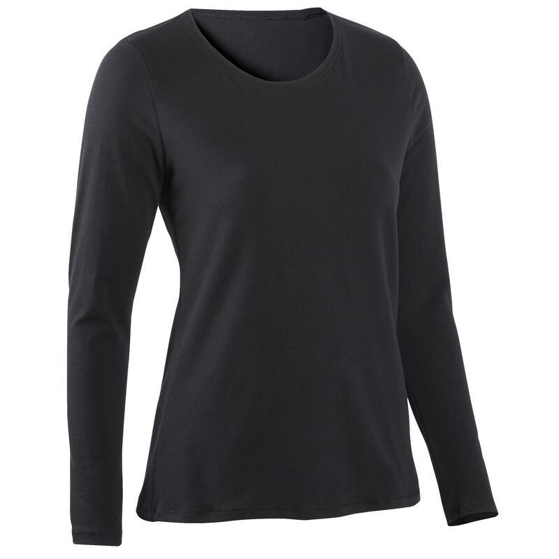 T-shirt fitness manches longues slim coton col rond femme noir