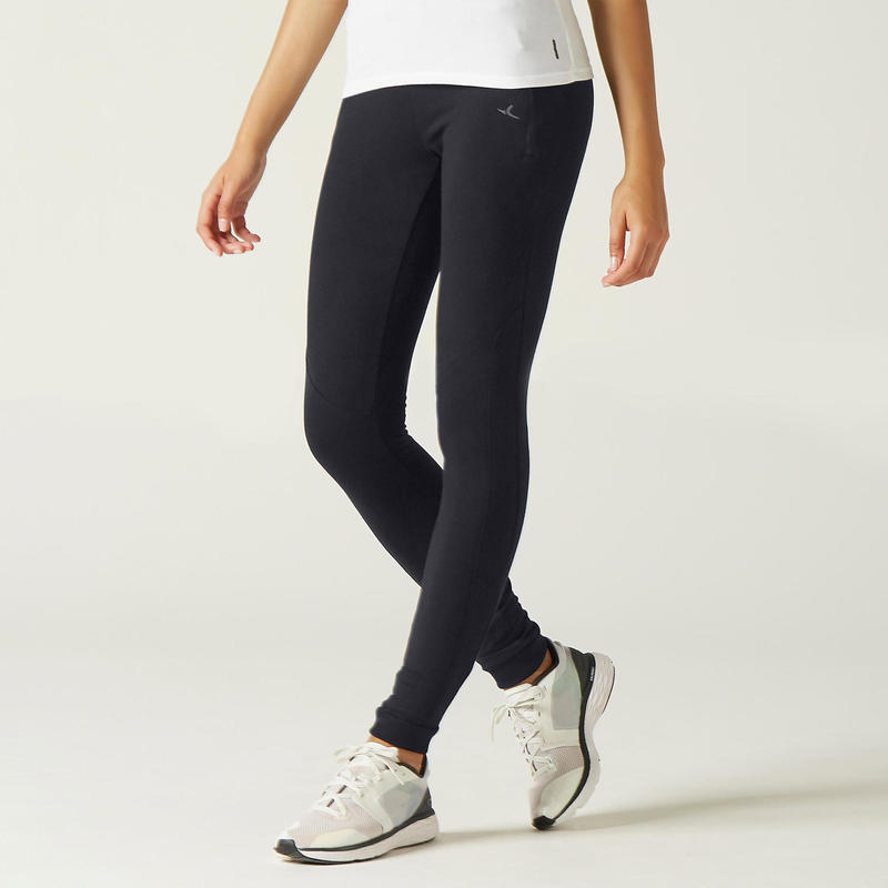 Warme joggingbroek voor fitness zakken met rits slim fit zwart