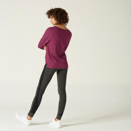 Stretchy Long-Sleeved Cotton Fitness T-Shirt - Purple