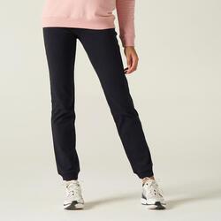 Lichte joggingbroek voor fitness recht model zwart