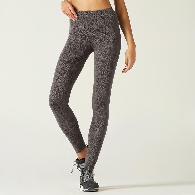 Fitness Cotton Leggings Fit+ - Grey Print