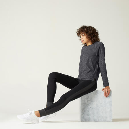 Stretchy Long-Sleeved Cotton Fitness T-Shirt - Mottled Grey Print