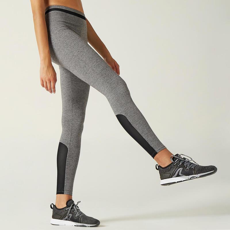 Legging Coton Extensible Fitness Taille Haute avec Mesh Gris