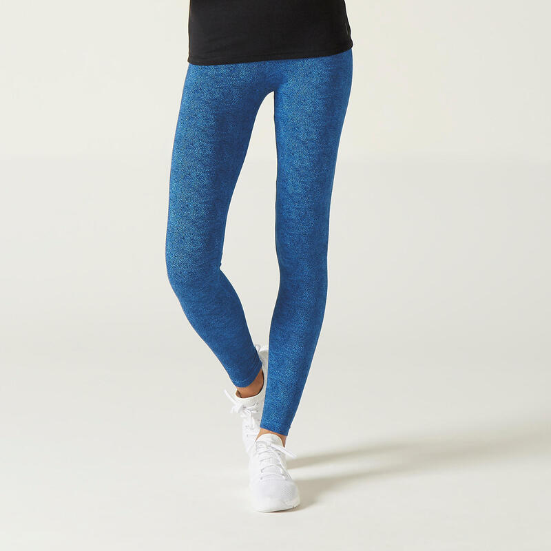 Legging voor fitness Fit+ katoen blauw met print