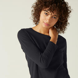 Women's Long-Sleeved T-Shirt 100 - Black
