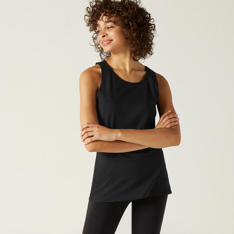 Stretch fitness top100% katoen zwart