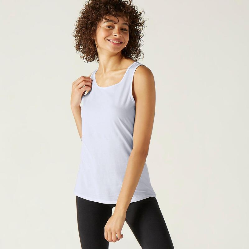 Camisola de Alças de Fitness 100% Algodão Branco