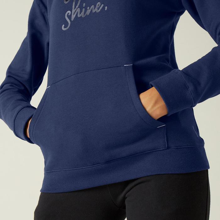 Trainingshoodie dames 520 marineblauw met opdruk