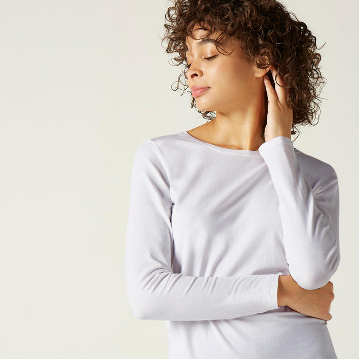 T-shirt fitness Basic manches longues slim coton col rond femme blanc glacier