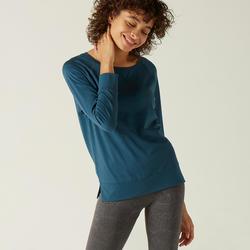 T-Shirt Manches Longues 500 Femme Vert avec Imprimé