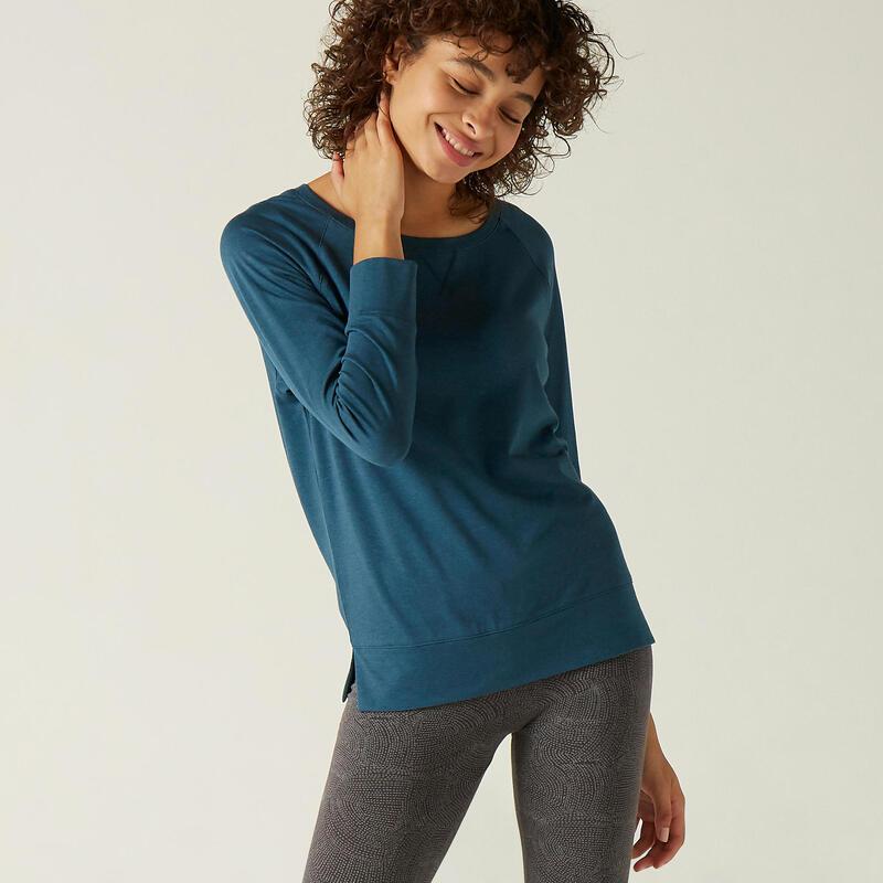 T-shirt fitness manches longues droit coton extensible col rond femme sarcelle