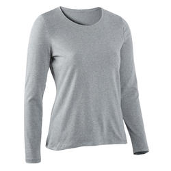 Women's Long-Sleeved T-Shirt 100 - Mottled Grey