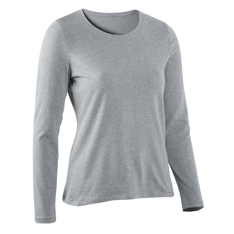 Bavlněné pružné tričko na fitness s dlouhým rukávem melírované šedé