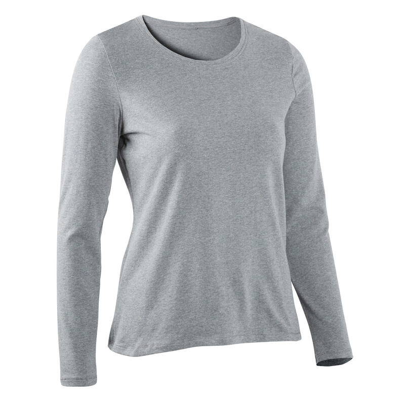 T-shirt fitness manches longues slim coton col rond femme gris