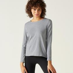 Long-Sleeved Cotton Fitness T-Shirt - Mottled Grey