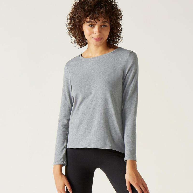 Shirt voor fitness lange mouwen katoen gemêleerd grijs