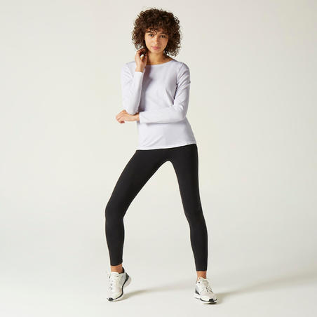 100 long-sleeved cotton fitness t-shirt