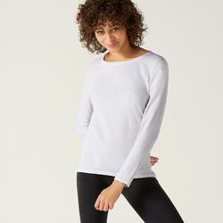 Langarmshirt aus Baumwolle Fitness weiss