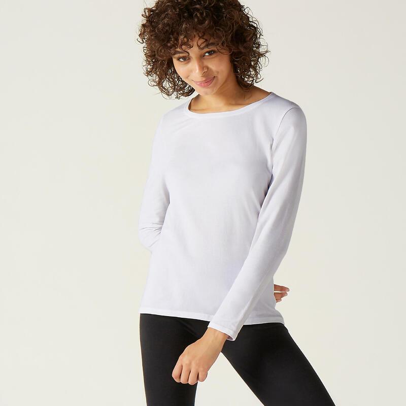 Shirt voor fitness lange mouwen katoen wit