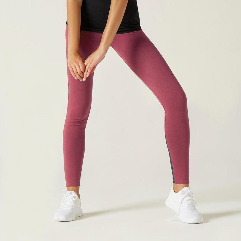 Legging Coton Extensible Fitness Taille Haute avec Mesh Rose Foncé