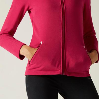 High Neck Zip Fitness Sweatshirt - Pink