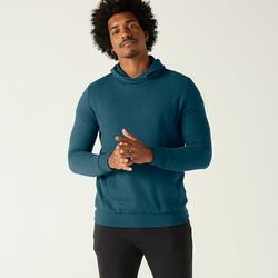 Hoodie voor fitness kangoeroezak turquoise