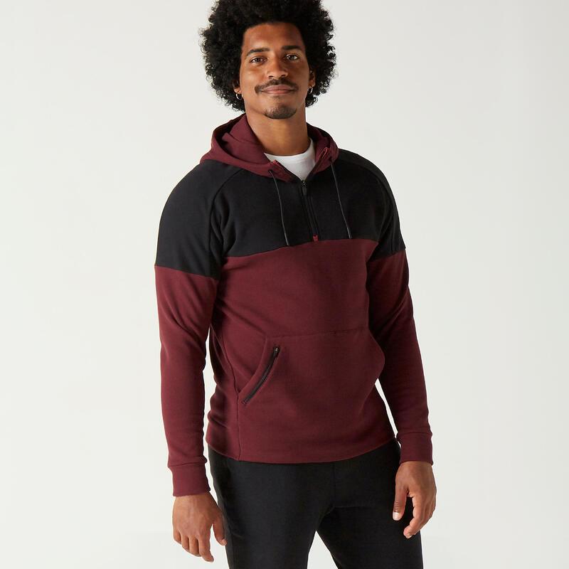 Fleece Fitness Hoodie - Burgundy/Black